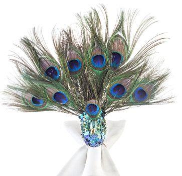 Sitting Peacock Napkin Rings, Set of 4 - eclectic - napkin rings - Z Gallerie