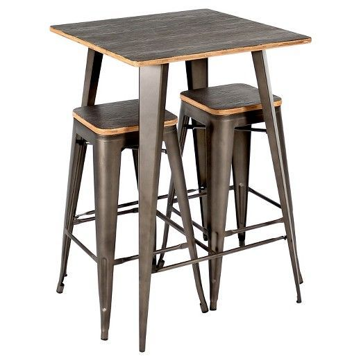 Versatile and stylish with an industrial feel, the LumiSource Oregon Pub Set is the perfect piece to achieve the rustic warehouse vibe in your home. Constructed from steel and wood the Oregon Pub Set was build to last. Designed with style in mind, you'll love the rustic warehouse vibe combined with the timeworn charm.