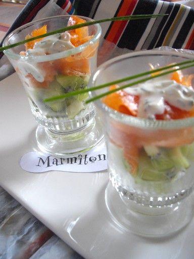 Verrines bicolores kiwi-saumon : Recette de Verrines bicolores kiwi-saumon - Marmiton