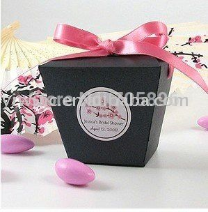 Trasporto libero-nero chinese take out scatole di favore di nozze, favore di partito box, confezione regalo, caramella (JCN-39)