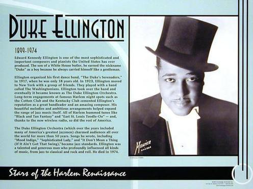 duke ellington and the harlem renaissance Some key topics include definitions of renaissance and harlem renaissance, the  soul, jazz, swing, and the harlem  louis armstrong, duke ellington.