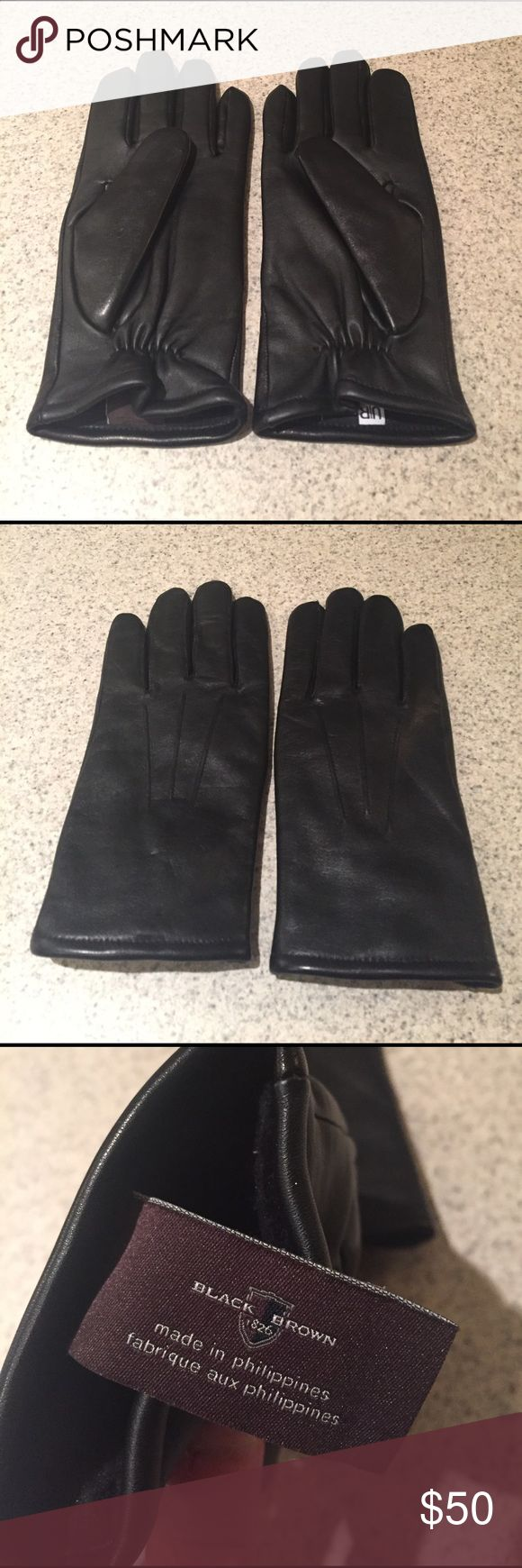 Black leather gloves with red buttons - Black Brown Leather Gloves