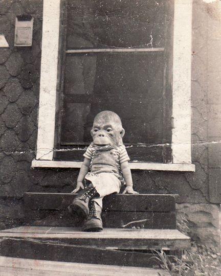 Monkey boy creepy halloween photo