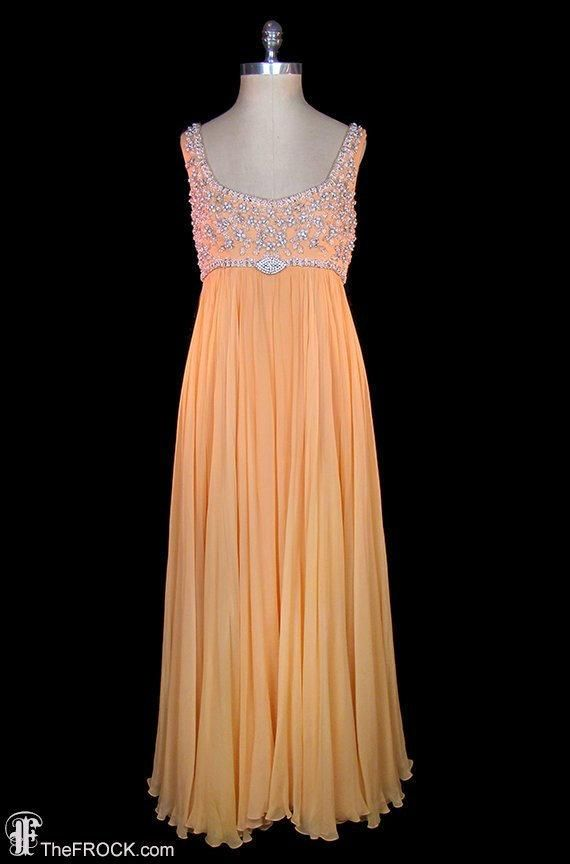 4b69c99ffabe High Waist · 1960s · Vintage 1960s Neiman Marcus labeled, bead and  rhinestone drenched chiffon over crepe gown. The