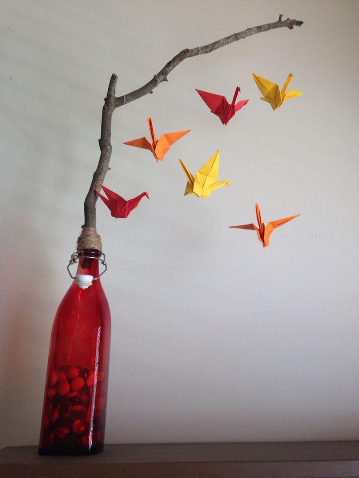 Standing paper crane mobile