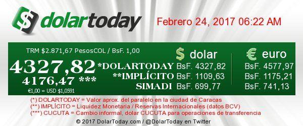 El #Dolar paralelo en #Venezuela  #Viernes, 24 de febrero de 2017