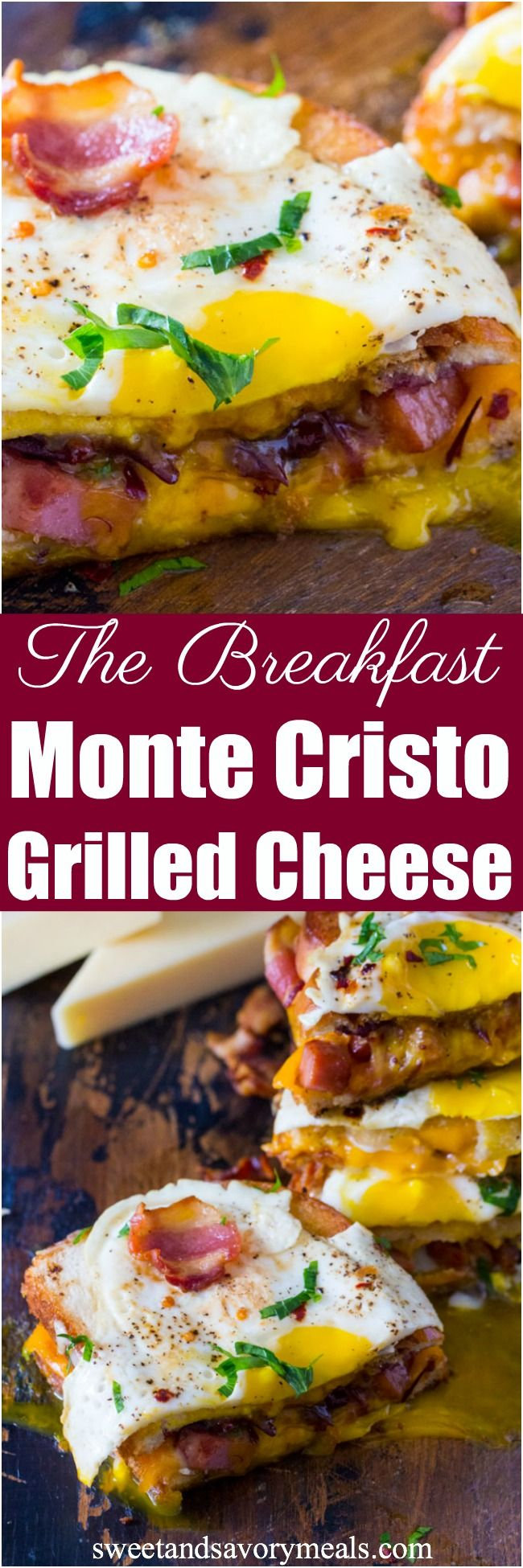 Monte Cristo Grilled Cheese sandwiches are deliciously stuffed with fried ham, bacon, cheese and topped with a perfect runny egg. #breakfastpower #grilledcheese #ad