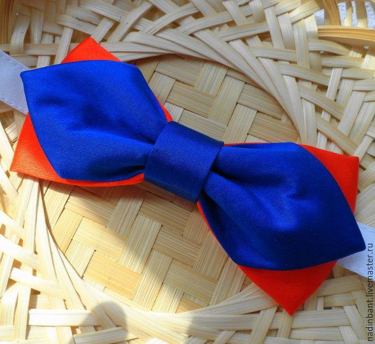 """Купить Галстук бабочка """"Эстрада"""" итальянский шелк - сине-оранжевый, оранжево-синий, галстук аббчока"""