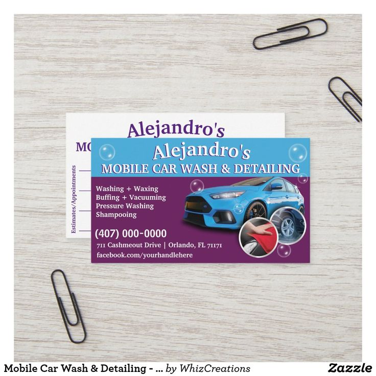 Pin on Mobile Car Wash & Detailing Business Cards