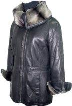 5008 Real Fur Lined STANDARD Grade Genuine Black Soft Supple Light Lambskin Leather Car New Half Coat Parka Big Faux Fur Collar Bendable to Stand Up Zipper Placket Front Closure Welt Pocket, Lined, ZIP OUT SECTION REAL REX FUR VELOUR LINER, Petite Regular Plus Size