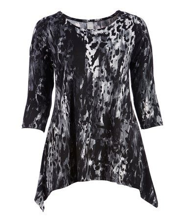 Love this Black & Charcoal Abstract Sidetail Tunic - Plus on #zulily! #zulilyfinds