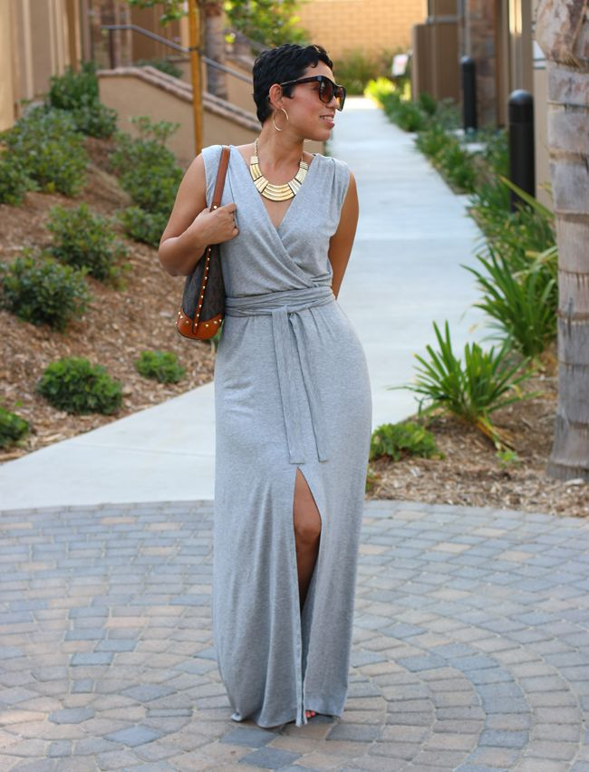 Front slit maxi in knit