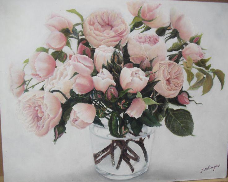 Vase of Roses, still life, oil on panel, 50 x 40 cm, by Sara Calcagno, italian painter