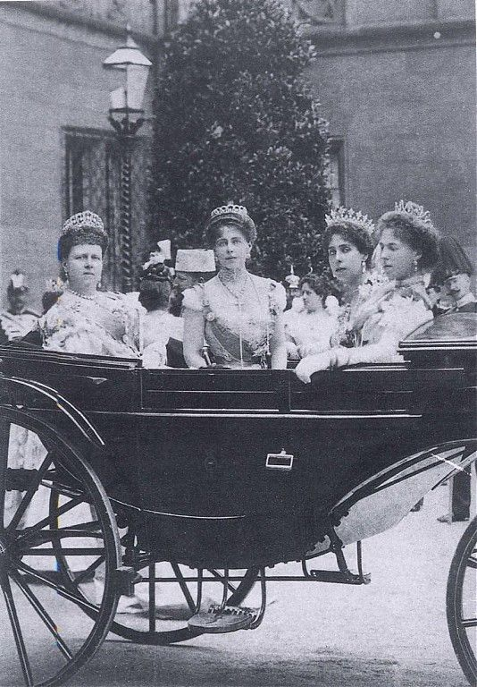 Maria, Duchess of Saxe-Coburg-Gotha, and Duchess of Edinburgh, with her daughters: Missy, Ducky & Sandra. Only married royals were permitted to wear tiaras.