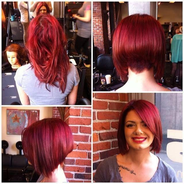 Avant apr s carr plongeant rouge passion carr coiffure pinterest rouge passion et - Carre plongeant roux ...