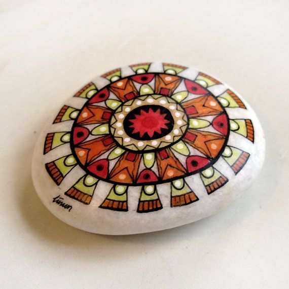 handpainted stone / sun mandala 2 / custom work for by zeustones