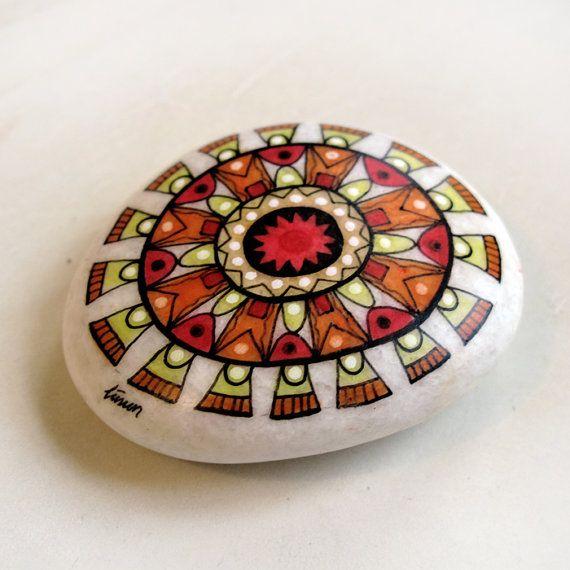 handpainted stone / sun mandala 2 / custom work for by zeustones