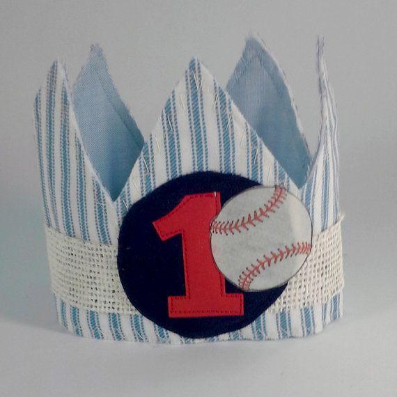 Baseball birthday crown softball party blue boy by Hartranftdesign
