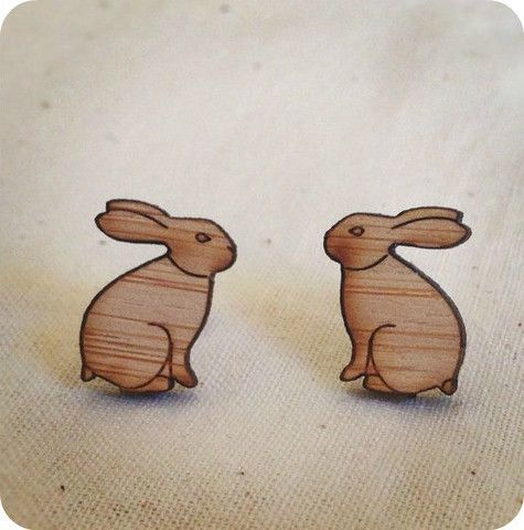 Rabbit stud earrings | One Happy Leaf | Nell and Oll