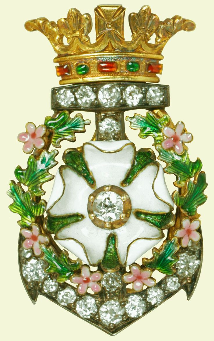 This brooch originally formed the centrepiece of a bracelet. At the wedding of the Duke and Duchess of York (the future King George V and Queen Mary) in 1893 each bridesmaid received one as a gift from the bridegroom, whose emblems are integral to the design. The diamond anchor recalls Prince George's naval career and the white Rose of York, highlights his recent creation as Duke of York.  #RoseofYorkBrooch #VonGiesbrechtJewels