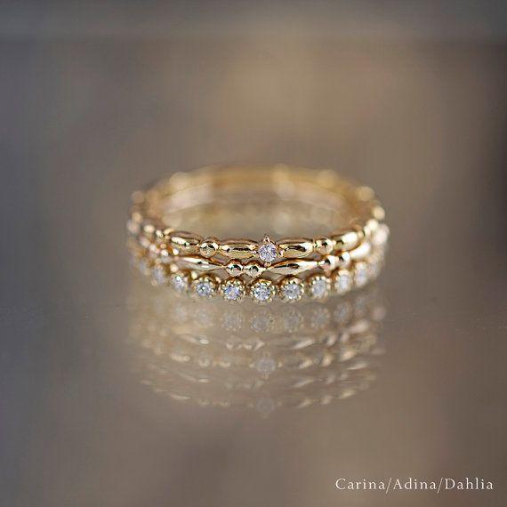 14 k gold Eheringe Diamant Ewigkeit Band Ewigkeit von EnveroJewelry