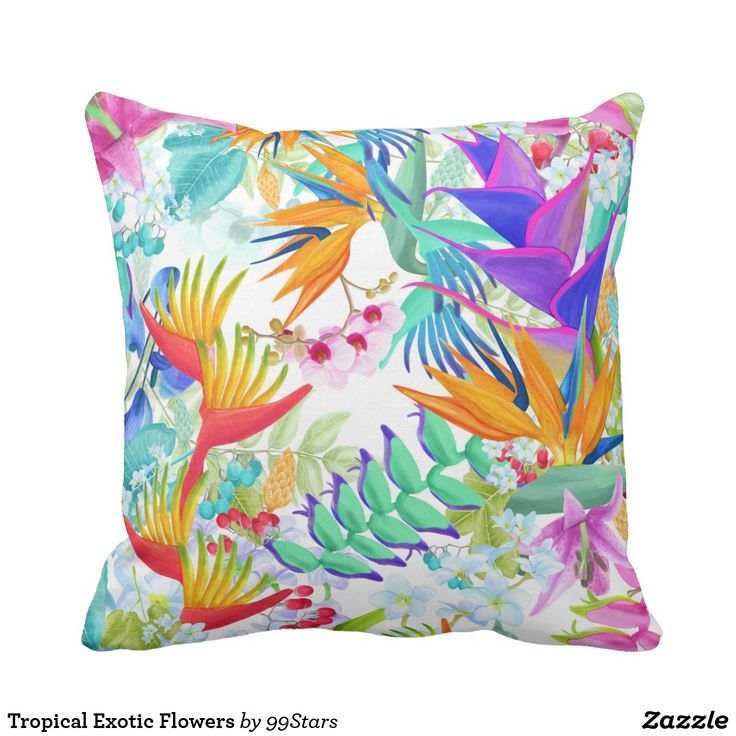 Tropical Exotic Flowers Throw Pillow