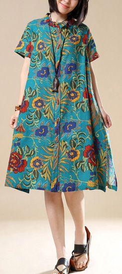 e543df89459 2018 casual green prints cotton shirt dresses plus size linen mid ...