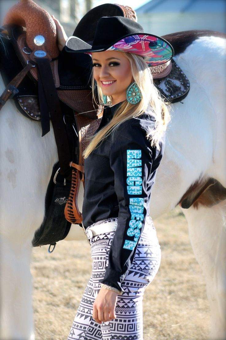 black rodeo shirt w turquoise ranch dressn on sleeve