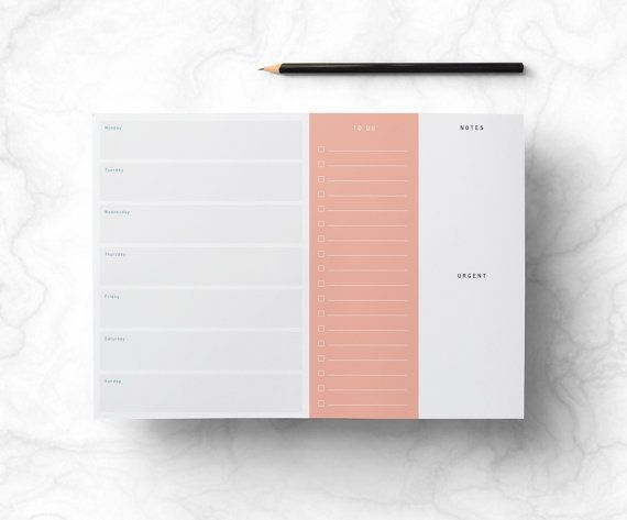 Weekly Printable Planner - Retro Desk Work Planner with To Do List, Stylish Minimalist Week Organizer, Digital File, DIY, INSTANT DOWNLOAD
