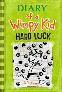 Anna is reading this right now:  DIARY OF A WIMPY KID:  HARD LUCK, book 8 will be on sale November 5th, 2013.