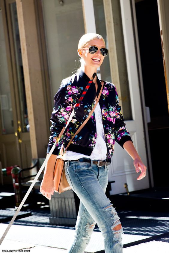 bomber jacket with floral 2017 prints