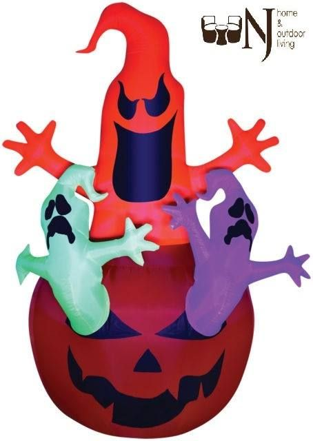 Airblown #Pumpkin Jack with Neon Color Ghosts Trio Scene stands almost 7 feet tall! Self-Inflates in Seconds. Lights up. Black light and stakes and tethers included. ETL listed. #Airblown #Ghost #Halloween #Halloweensale #Halloweenoffer #Halloweenday