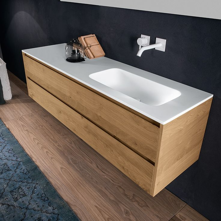 Falper Via Veneto Mod Fresh 1600mm Double Drawer Solid Skin Oak Cabinet with Matt Ceramilux Basin - Rogerseller