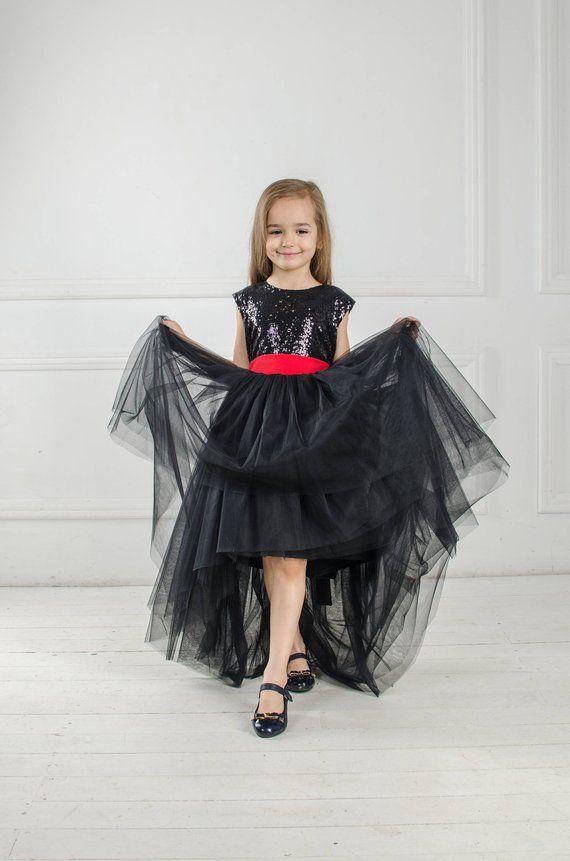 baf5617e458 Black pageant dress Black sequin tutu Flower girl dress baby girl dress  with red bow Princess dress Tulle girls high low dress