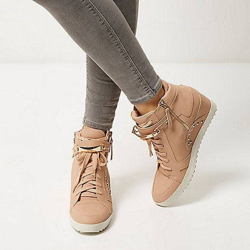 Light pink studded wedge high top trainers - plimsolls / trainers - shoes / boots - women