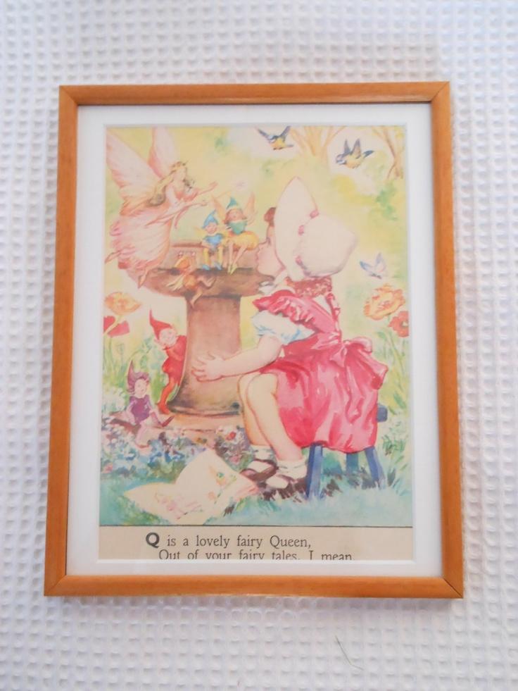Fairy Queen Framed Childrens Vintage Print Illustration Matted Wood Frame. $22.00, via Etsy.