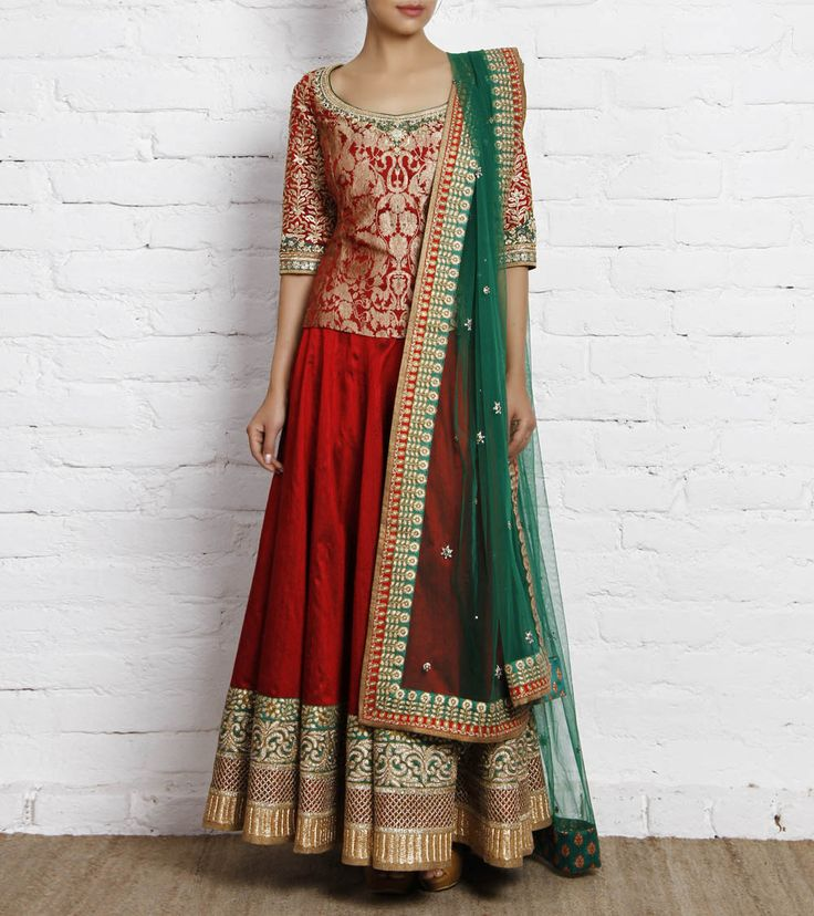 Red and Green Raw Silk and Brocade Lehenga Set