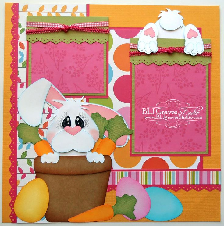 BLJ Graves Studio: Easter Bunny Scrapbook Page.  Love the bunny butt.  Would be cute for an egg hunt layout.