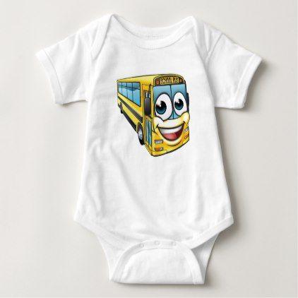 School Bus Cartoon Character Mascot Baby Bodysuit - kids kid child gift idea diy personalize design