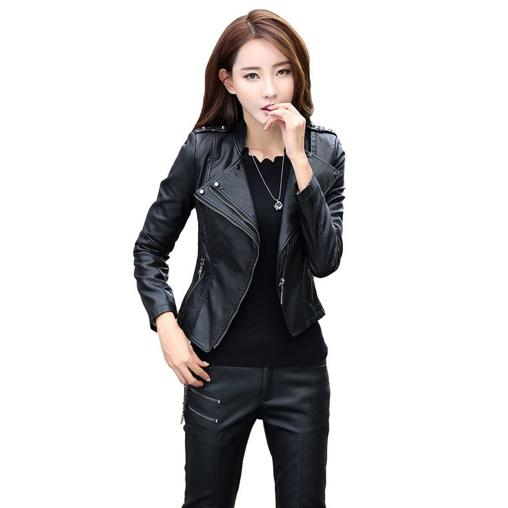 Cheapest prices US $31.60  leather jacket women spring and autumn Slim stitching motorcycle leather coat ladies black and red parka plus size M-5xl 6926  . Get discount for product: Black Leather Vest Womens.