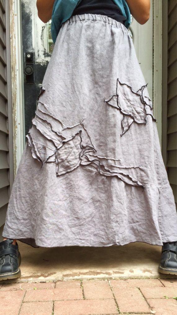 Gray Heavy Linen Long Vines Skirt L by sarahclemensclothing