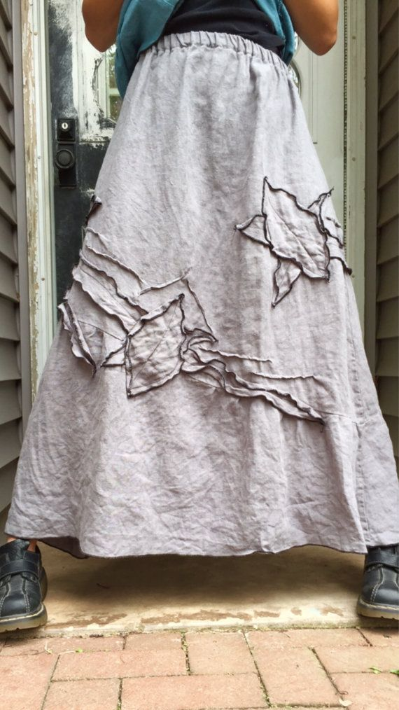 Gray Heavy Linen Long Vines Skirt L by sarahclemensclothing