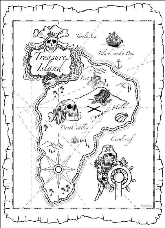 Pirate map to the treasure island with skull ship nautical