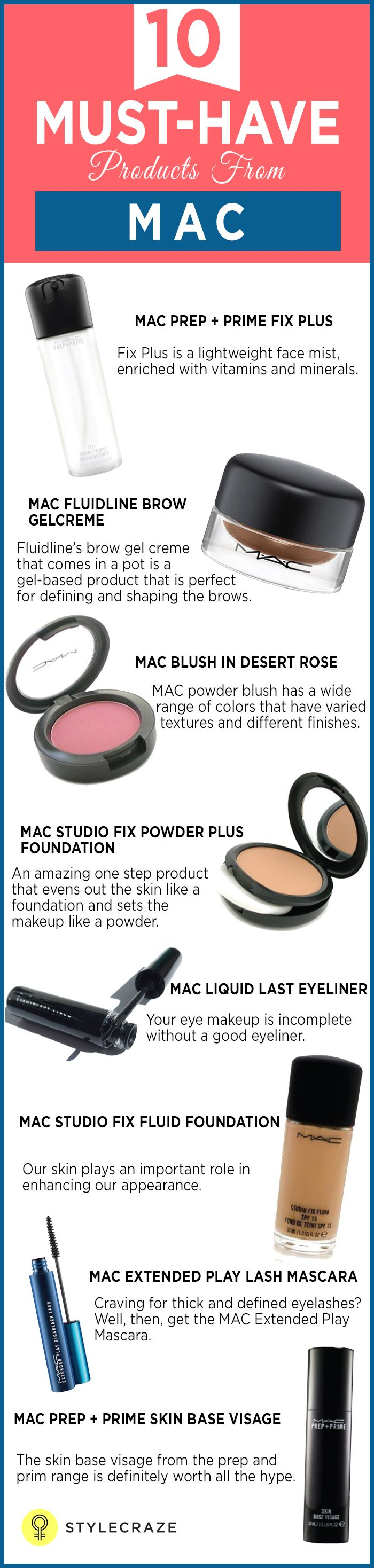 One of the leading cosmetic brands worldwide, the acronym MAC stands for Makeup Artist Cosmetics. MAC offers a wide range of products including eyeshadow, eyeliner, mascara, lip gloss, lipstick, foundation, blusher, face powder, nail color, concealer, and a lot more. Here are 10 must-have MAC products.  #MakeupProducts