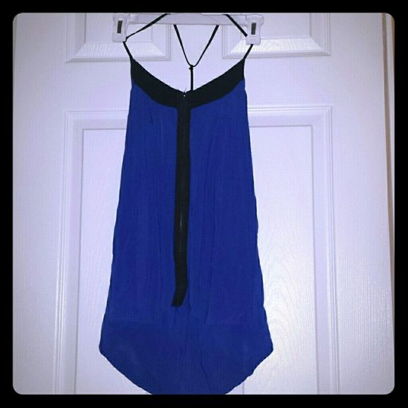 Love Culture  blue strappy top Blue and black strapped zippper top. Easy breezy for a fun girls night out! Love Culture Tops Camisoles