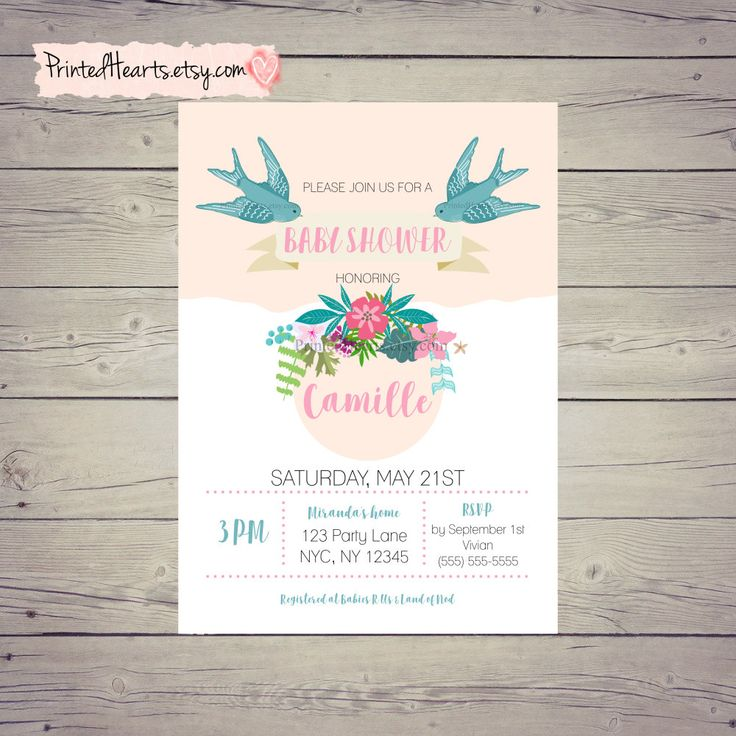 Baby Shower Invitation Floral- Spring baby shower invitations - Bohemian baby Shower - Bird Baby Shower Invitations - Blue Pink Girl Flower by PrintedHearts on Etsy