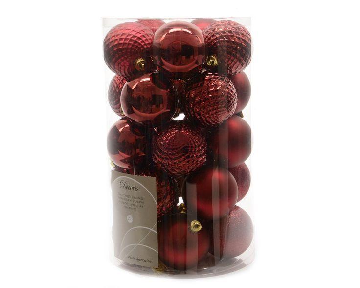 """Weihnachtskugeln dunkelrot """"Dark red Mix"""" 7 cm 25er-Set Christbaumkugeln Kunststoff - dunkelrot matt, dunkelrot glänzend"""