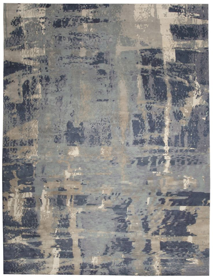 Love the fact that this rug looks like a painting. Tibetan Storm Indigo N10015 - by Doris Leslie Blau.