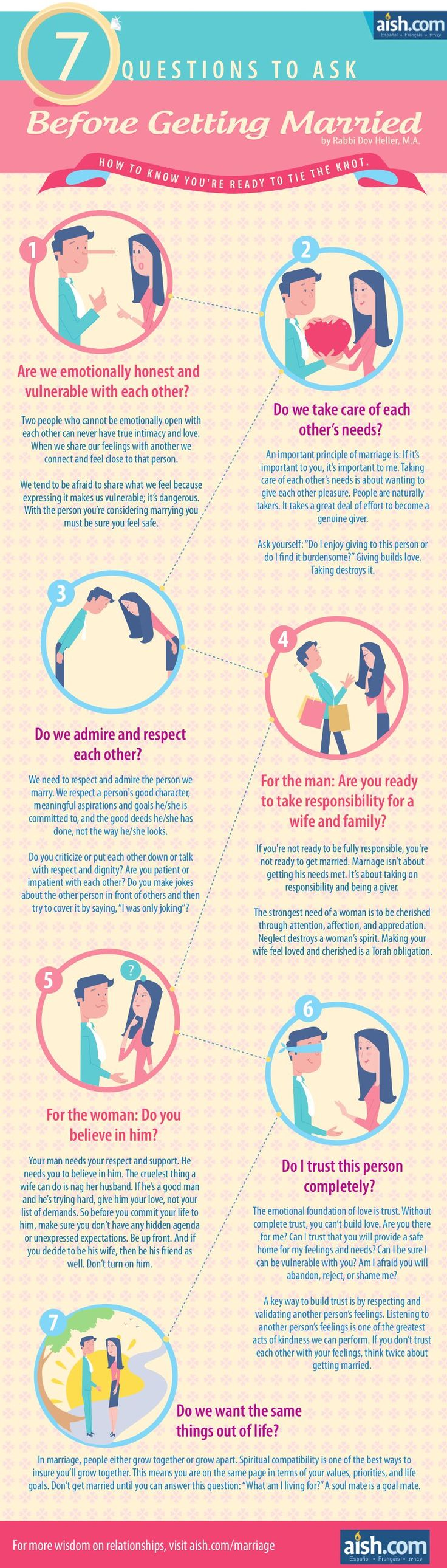 7 Questions to ask before getting married. To see more great Jewish wisdom on dating, visit Aish.com's dating page: http://www.aish.com/d/?s=nb