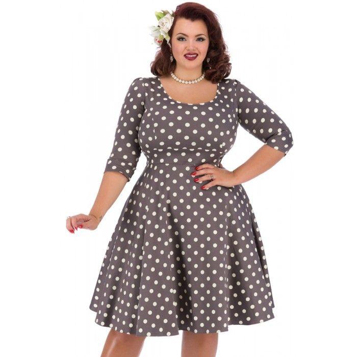 Grote maten damesmode Lady Vintage Jurk Phoebe polkadot mokka | Fashion In Conflict